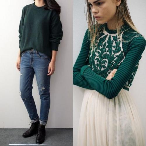 Изумрудный свитер с чем носить. Особенности зеленых свитеров и кому они подходят