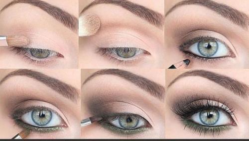 Макияж для маленьких глаз зеленого оттенка