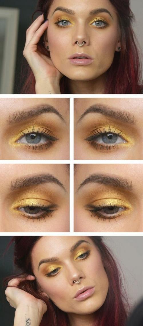 Желтые тени на глазах. Тренд 2019 года: желтые тени