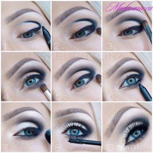 Макияж для голубых глаз и светлых волос на каждый день. Макияж Smokey eyes для голубых глаз и русых волос пошагово фото