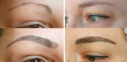 Пудровые брови до и после коррекции. Пудровые брови после коррекции