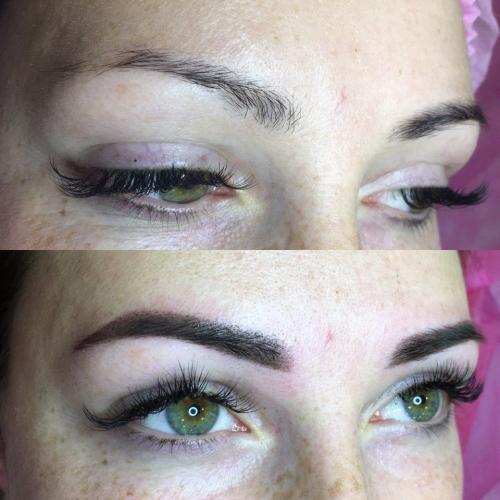 Перманентный макияж бровей до и после заживления. Брови