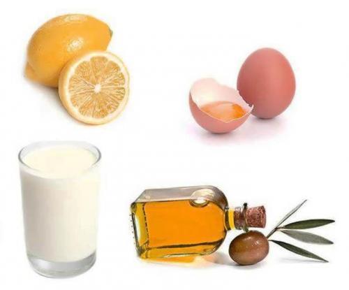 Маска для волос масло оливковое. С желтком, лимоном и молоком