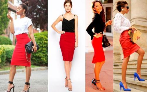 Красная юбка черная блузка.