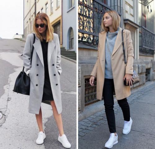 Серое пальто с белыми кроссовками. Гармоничные цветовые сочетания