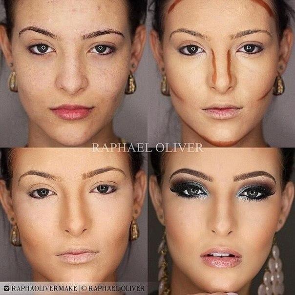 Скулы с помощью макияжа