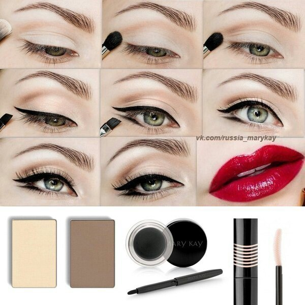 Классический макияж - черные стрелки и красная помада