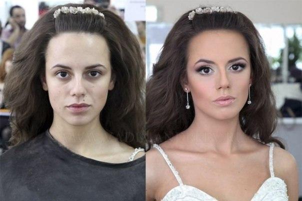 Яркий макияж фото до и после