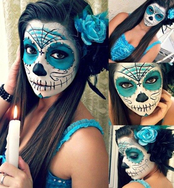 Рисунки на лице для хэллоуина девушкам