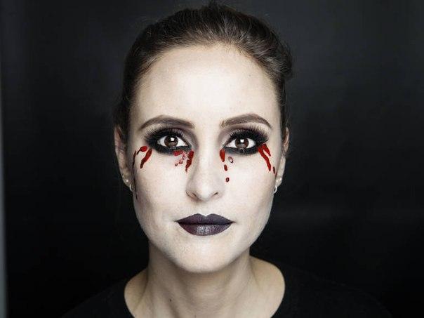 картинки простого макияжа на хэллоуин