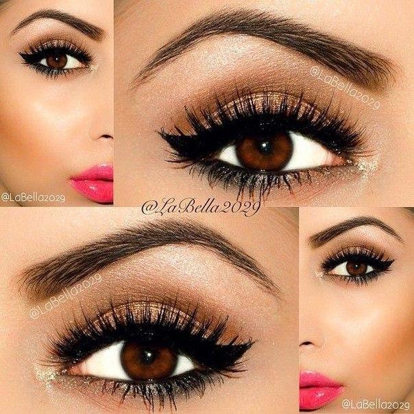 Красивый макияж для глаз карих