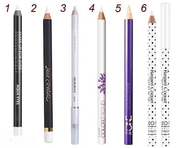 Макияжа глаз с белым карандашом для глаз. Белый карандаш в вечернем макияже.