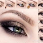 Вечерний макияж:  1 нанесите базу под тени и припудрите веко.