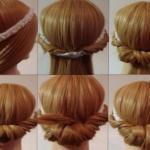 Греческая причёска.  Мы разделяем волосы на 2 части со средним пробором.