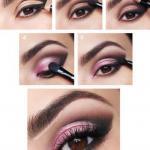 Макияж для карих глаз пошагово в розово - коричневой гамме.