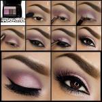 Лиловый макияж.  1. нанесите фиолетовый оттенок выше складки.