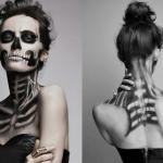 Макияж скелета на Хэллоуин, создаем makeup skeleton.